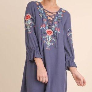 Umgee Tunic/Mini Dress Embroidered Boho Style Sm